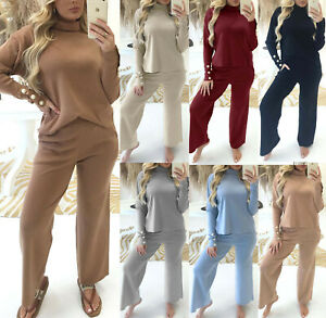 Women's Ladies High Neck Fine Knit Pearl Gold Button Lounge set Tracksuit New UK
