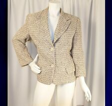 NEIMAN MARCUS Ivory with Pink Yellow Orange White Tweed Woman Blazer Coat Jacket