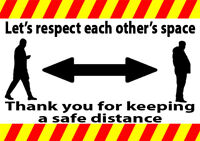Social Distancing warning stickers signs health and safety guide distance meter