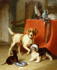 Hand painted Oil painting three dogs have afternoon tea owner was not at home