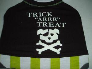 Pirate Dog Halloween Costume Pet T-Shirt Trick ARRR Treat  XS-S-M New