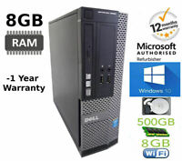 SUPER FAST WINDOWS 10 DELL OPTIPLEX PC INTEL 8GB DDR3 RAM 500GB HDD +WIFI+OFFICE