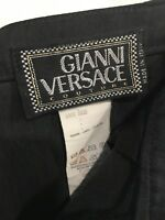 Gianni Versace Couture 100% Silk Wide Leg cuffed Pants, navy, Size 40 Italy Vtg