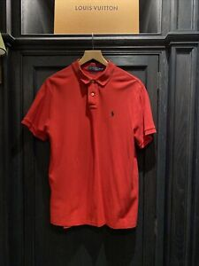 Ralph Lauren Polo Shirt Top L Large Mens Designer Red Summer Short Sleeve