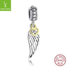 925 Sterling Silver Angel Wing Pendant &Charm Fit European 14K Gold Heart Dangle