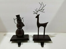 Bronze Colored Pottery Barn? Metal Stocking Hanger Reindeer Snowman Lot of 2