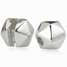 SHINY .925 STERLING SILVER CLIP CHARM BEAD FITS EUROPEAN BRACELET BANGLE
