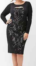Lane Bryant beautiful Black Sequin Sheath Dress with cut out size 16 Cocktail