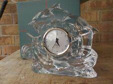 "Htf Lenox Crystal Three Dolphins Swimming figure Clock Working 7 by 8"" mib"