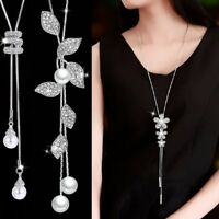 Women Long Tassel Pearl Flower Crystal Pendant Necklace Chain Sweater Jewelry