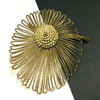 RARE Vintage MONET Rare Flower Brooch BIG Abstract Textured Polished Gold ii34E