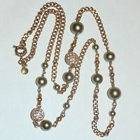 """Signed J Crew faux pearl rhinestone gold tone station chain necklace, 30"""" long"""
