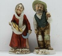 """Napcoware Old Man With Axe & Old Woman Sickle Corn Ceramic Figurines 6.5"""" Tall"""