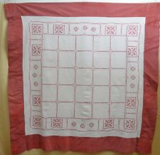 Vintage Turkey Red Emboirdered Tablecloth Tea Cloth Tt237