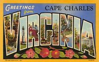 Vintage USA 1939 Linen Postcard Greetings from Cape Charles Virginia AL7