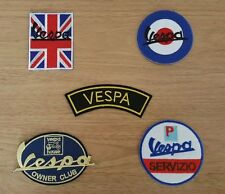 WHOLESALE SET OF FIVE SEW ON / IRON ON PATCHES:- VESPA SCOOTER RALLY SELECTION D