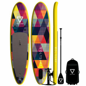 VoltSurf 11 Foot Rover Inflatable SUP Stand Up Paddle Board Kit w/ Pump, Yellow