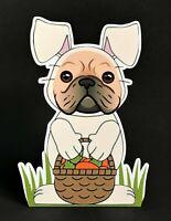 "Fawn French Bulldog Easter Bunny 7""  Decor"