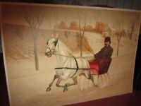 Antique 1897 Chromolithograph Print by CB Fish~Horse Drawn Sleigh~Winter Litho 3