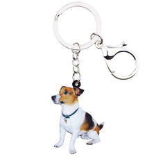 Acrylic Sitting Jack Russell Terrier Dog Keychain Ring For Women Charms Jewelry