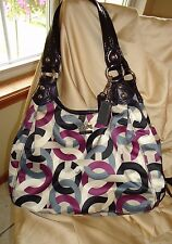 COACH Madison Maggie OP Art Scarf Print Sateen Hobo Satchel  Gray Purple Silver