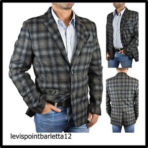 Blazer giacca abito da uomo slim fit elegante invernale casual a quadri nera 48