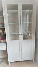 Ikea Hemnes glass door display cabinet bookcase white wood shelving furniture