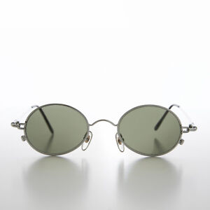 Oval Metal Spectacles 90s Vintage Sunglass Silver / Green Lens - Greco