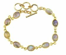 Labradorite Bracelet 14k Gold Filled 6 7 Inch Adjustable Bezel Chain Blue Flash