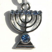 Jewish Temple Menorah Pendant & Necklace, Silver Tone w/Sparkly Crystals Judaica