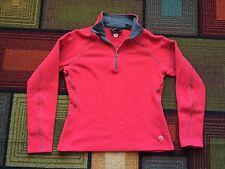 Mountain Hardwear Red 1/2 Zip Womens Fleece Pullover Jacket Shirt Top Gray sz M