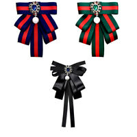 Fabric Ribbon Vintage Brooch Pin Cravat Bow tie green black blue blouse brooch