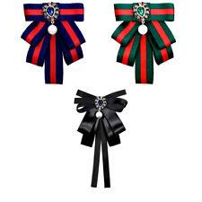 341247cc14d Fabric Ribbon Vintage Brooch Pin Cravat Bow tie green black blue blouse  brooch