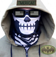 MIL-SPEC MONKEY MSM BLACK SKULL FACE MASK MULTI HEAD WRAP SHEMAGH SWAT OPS URBAN