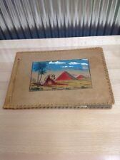 Vintage Tooled Leather Photo Album Scrapbook, Bound, Looks Egyptian