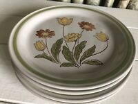 "4 Country Casual Sunnyvale Stoneware Dinner Plate 10-1/2"" Set Vintage JAPAN"