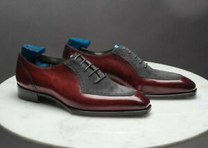Handmade Men's Brogue Square Toe Lace Up Shoes, Real Leather Suede Shoes