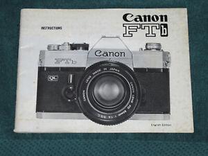 Original Printed Canon FTb Camera Instruction Manual FREE USA SHIP