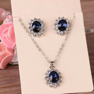 BL_ Exquisite Sapphire Rhinestone Pendant Necklace Earrings Women Jewelry Set Ch