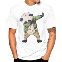 Plus Size Men Boy Short Sleeve White Print Tees Cotton T Shirt Blouse Tops S-4XL