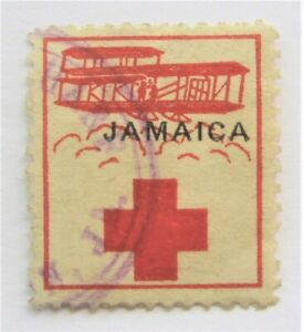 1916 Jamaica Red Cross Relief Label used WWI Early Biplane Stamp