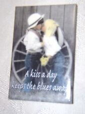 "Refrigerator Door Magnet 2"" X 3"" A Kiss A Day Keeps the Blues Away! Boy & Girl"