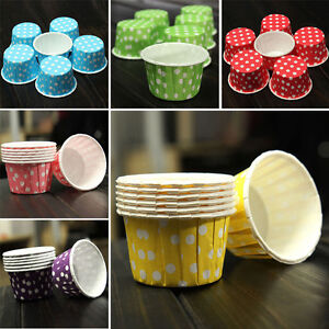100PCS Pleated Cupcake Case Muffin Cases Polka Dot Striped Paper Baking  RCOS