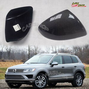 For Volkswagen Touareg 11-18 Dry Real Carbon Fiber Side Mirror Cover Cap Add On