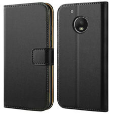 Black Folio Slot Wallet Premium Leather Stand Case Cover For Motorola Moto G5S