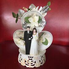 Vintage 50's 60's Wedding Cake Topper w/ Bells Dove Flowers Bride Groom Plastic