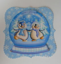 PK 2 SEASON GREETINGS SNOWGLOBE PENGUIN FRIENDS TOPPERS FOR CARDS AND CRAFTS
