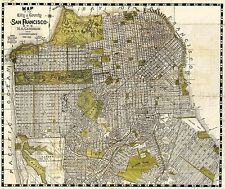 Mappa ANTICA 1932 candrian SAN FRANCISCO CITY County REPLICA poster stampa pam2033