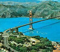 Golden Gate Bridge San Francisco CA Aerial View Presidio Toll Plaza Vtg Postcard