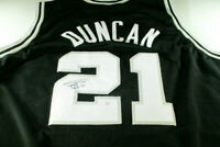 TIM DUNCAN / HAND SIGNED SAN ANTONIO SPURS BLACK CUSTOM BASKETBALL JERSEY / COA